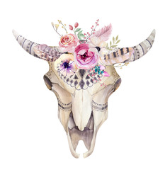 Watercolor bohemian cow skull.  Western mammals. Watercolour hip