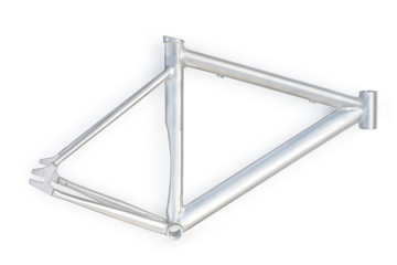 Silver bicycle frame. Isolated on white with clipping path