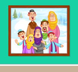 Happy muslim family in photo frame