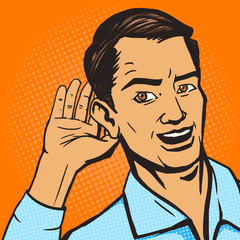 Man listens pop art style vector illustration