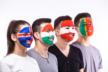 Face portrait of football fans support their national team: Portugal, Hungary, Iceland, Austria on white background. European football fans concept.