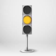 Traffic light vector illustration. Yellow diod traffic light. Te