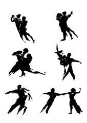 Couple dancing tango silhouettes