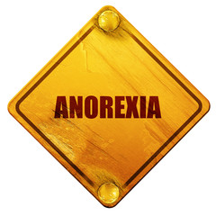 anorexia, 3D rendering, isolated grunge yellow road sign