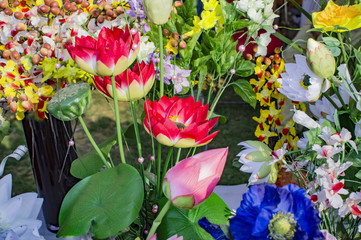 Artifical roses and lotus on sale