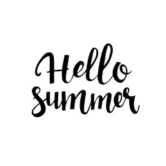 Hello summer hand drawn lettering