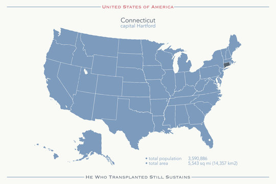 United States of America isolated map and Colorado state territory. vector USA political map. geographic banner template