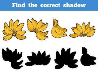 Find the correct shadow, vector set of banana