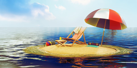 3D Illustration of island with a sun lounger and parasol in the middle of the sea 3D render