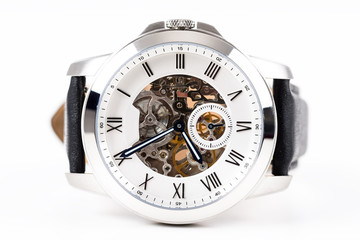 Automatic Men Watch With Visible Mechanism On White