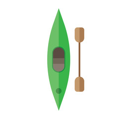 Icon of kayak with paddle