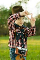 Happy child and camera
