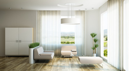 interior design of lounge room, 3d render