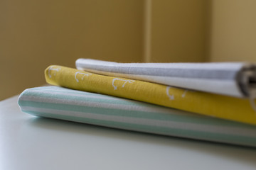 Closeup detail of multicolor fabric texture samples