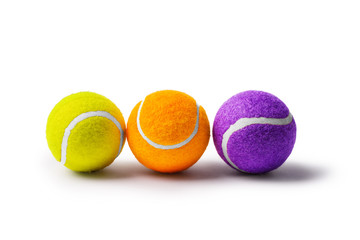 Collection of tennis balls on a white background