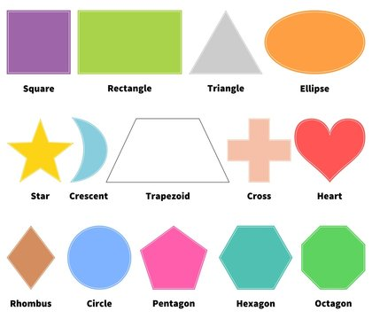 Basic shapes for kids. Learn 2D shapes. Isolated. White background