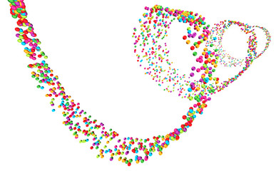 Perspektivische Darstellung einer Spirale aus bunten Kügelchen auf weißem Hintergrund – freigestellt