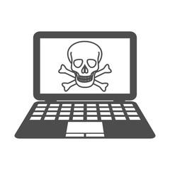 piracy symbol skull computer vector icon