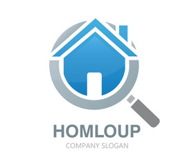 Vector magnifier and house logo