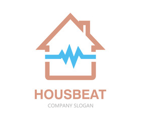 Vector pulsating house logo