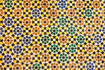 ceramic mosaic with traditional moorish geometrical pattern