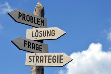 Problem, Losung, Frage, Strategie - signpost