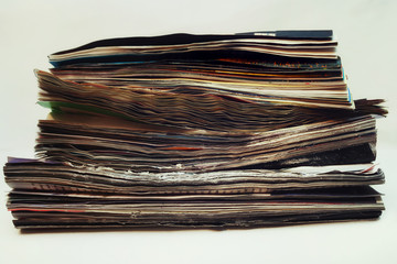 Stack of old magazines spoiled