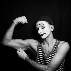 Black and white Portrait of mime actor