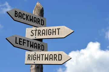 Backward, straight, leftward, rightward signpost