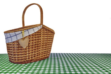 Picnic Basket On The Green Checkered Tablecloth Isolated On Whit