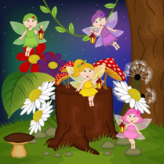 fairies in forest - vector illustration, eps
