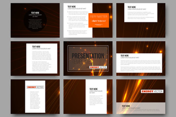 Set of 9 templates for presentation slides. Abstract lines background, dynamic glowing decoration, motion design, energy style vector illustration