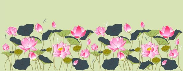 Flowers and lotus leaves