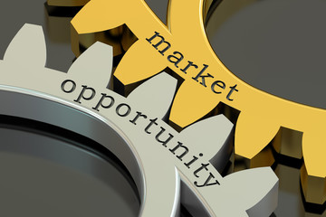 Market Opportunity concept on the gearwheels, 3D rendering