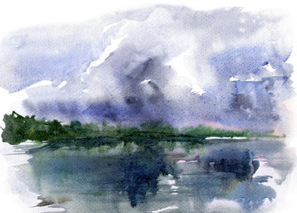 Lake and storm clouds.Watercolor sketch landscape.