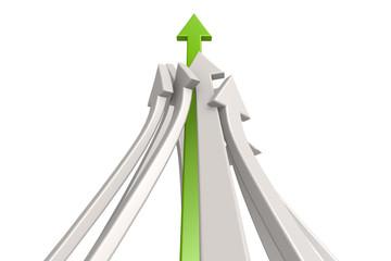 Leading green arrow
