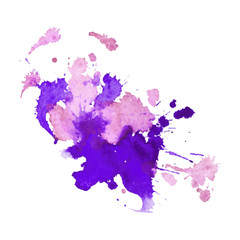 expressive watercolor stain with splashes of  violet pink color