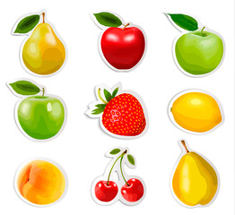 Collection of fruit stickers. Vector.