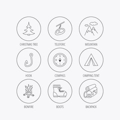 Mountain, fishing hook and hiking boots icons.