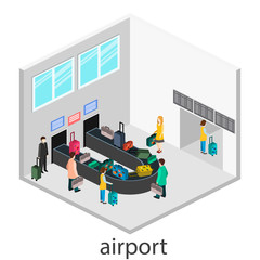 Isometric gesign of receipt of baggage.  Baggage carousel