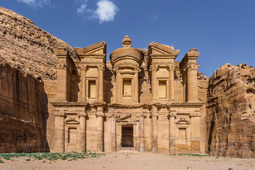 Front view of Ad Deir (aka The Monastery or El Deir) in the ancient city of Petra (Jordan)