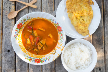 Dried red pork coconut curry (Panaeng) : eat with fried egg and