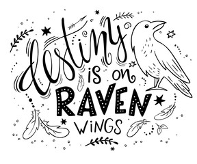 vector hand drawn lettering with raven surrounded with curly, swirly, arrow, feather shapes