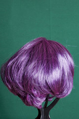 Artificial wig with blue hair