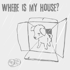Sad homeless puppy looking for a home, linear vector sketch/Abandoned puppy in a box, animal cruelty, hand drawn illustration