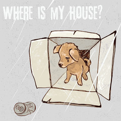 Sad homeless puppy looking for a home, vector color sketch/Abandoned puppy in a box, animal cruelty, hand drawn illustration