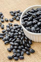Black Beans in white ceramic bowl.