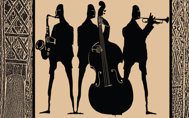 Etiqueta Engomada - Jazz band in ethnic style design
