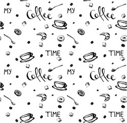 hand-drawn seamless pattern . My coffee time quote. Doodles of coffee cup, donuts, spoons, coffee beans. Vector illustration