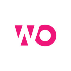 WO Logo. Vector Graphic Branding Letter Element. White Background
